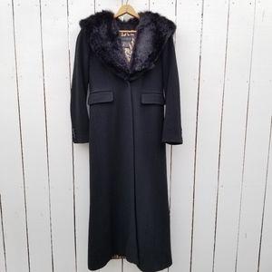 Vintage Express Long Wool Coat Faux Fur Hood